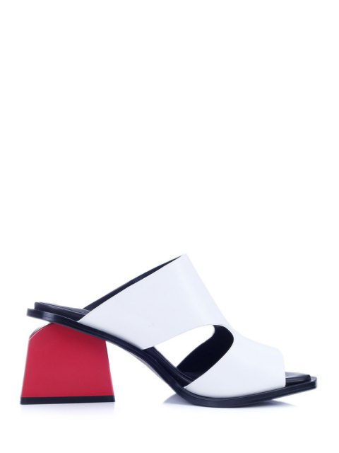 women's Chunky Heel Hollow Out White Slippers - WHITE 38 Mobile
