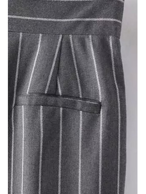 sale Striped High-Waisted Chino Pants - BLACK M Mobile
