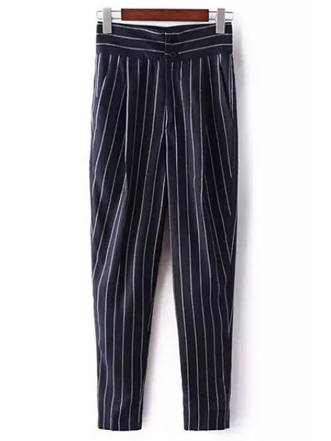 fashion Striped High-Waisted Chino Pants - DEEP BLUE M Mobile