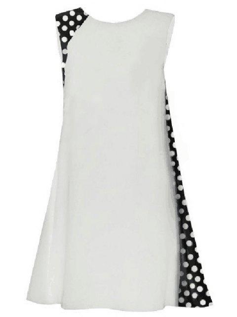 fashion Polka Dot Splicing Round Collar Sleeveless Dress - WHITE XL Mobile