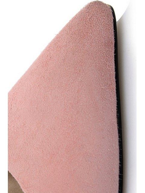 unique Solid Color Lace-Up Stiletto Heel Pumps - PINK 39 Mobile