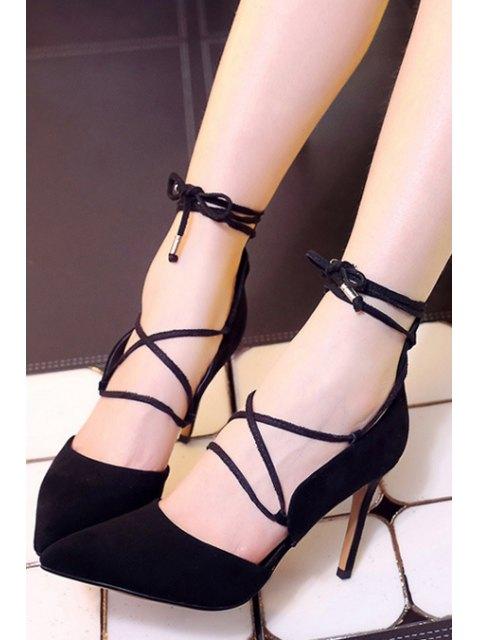 shop Solid Color Lace-Up Stiletto Heel Pumps - BLACK 37 Mobile