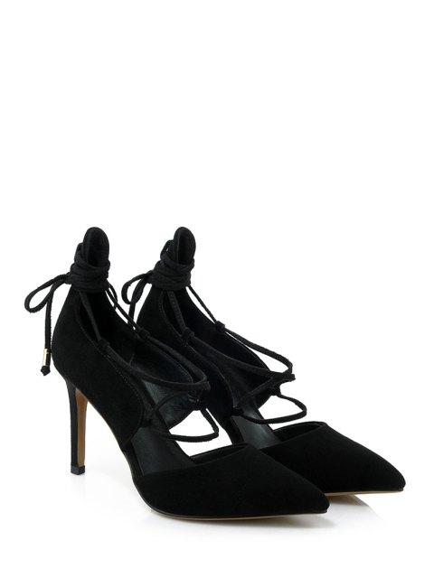 hot Solid Color Lace-Up Stiletto Heel Pumps - BLACK 36 Mobile