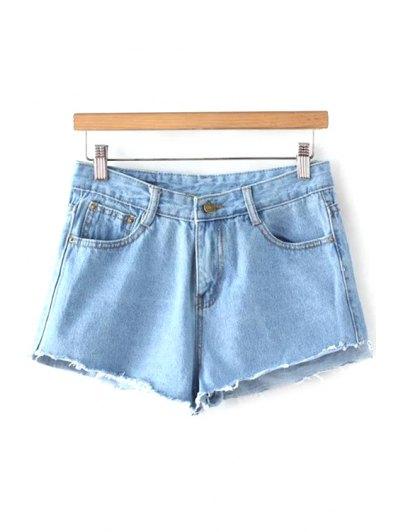 Fitting Light Blue Mid-Waist Denim Shorts - Light Blue