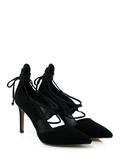 Solid Color Lace-Up Stiletto Heel Pumps - BLACK 37 Mobile