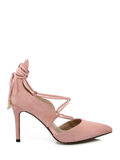 Solid Color Lace-Up Stiletto Heel Pumps - PINK 39 Mobile