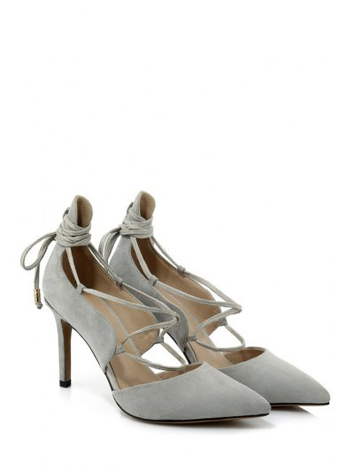 Solid Color Lace-Up Stiletto Heel Pumps - LIGHT GRAY 38 Mobile