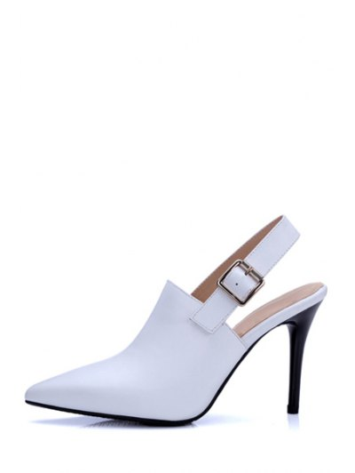 Slingback Pointed Toe Stiletto Heel Pumps - WHITE 38 Mobile