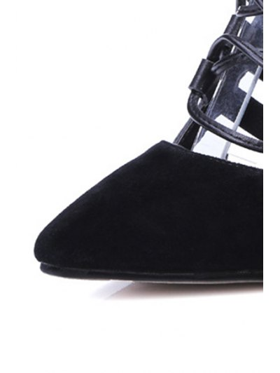 Pointed Toe Splicing Lace-Up Pumps - BLACK 36 Mobile