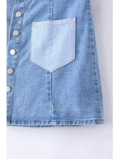 Denim Pockets Floral Embroidery Skirt - LIGHT BLUE M Mobile