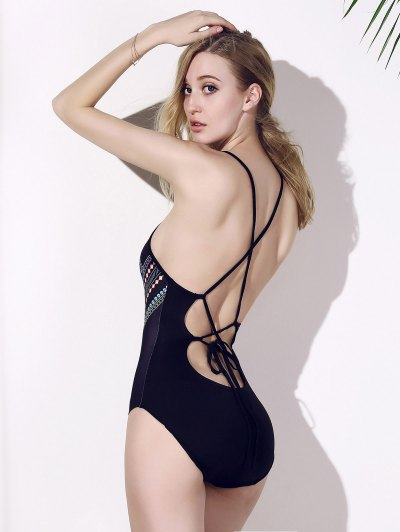 Backless Chic Print Cut Out One Piece Swimwear For Women - BLACK M Mobile