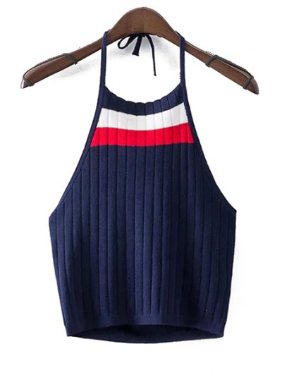 Halter Sleeveless Fitted Color Block Crop Top - Cadetblue