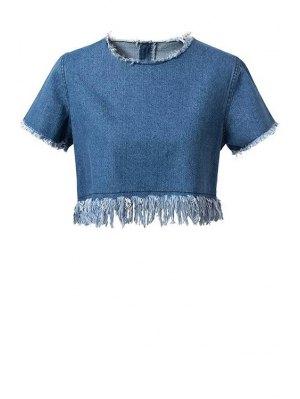 Frayed Denim Crop Top - Blue