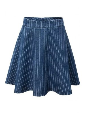 Striped A-Line Mini Skirt - Blue