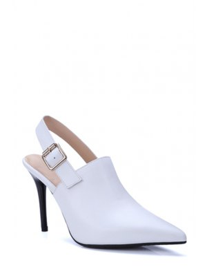 Slingback Pointed Toe Stiletto Heel Pumps - White