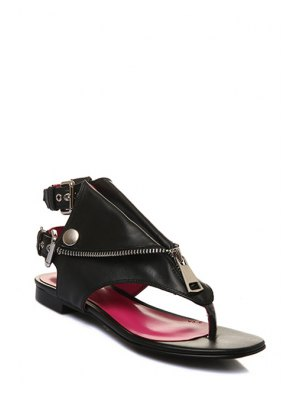 Zip Buckles Black Sandals - Black