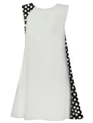 Polka Dot Splicing Round Collar Sleeveless Dress - White