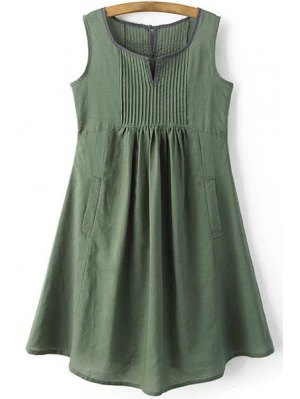 Pockets Sleeveless Notched Neck Dress - Green
