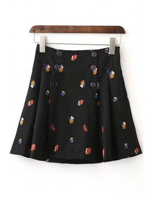 Floral High Waist Double-Breasted Skirt - Black