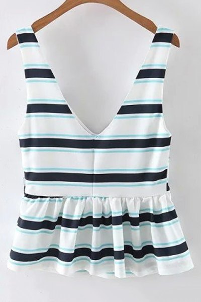 Fitting Striped Plunging Neck Tank Top - WHITE L