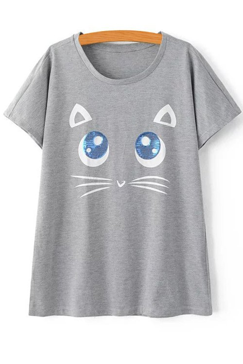 Round Neck Short Sleeve Kitten Pattern T-Shirt