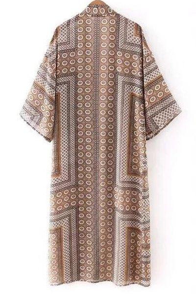 Vintage Print Long Sleeve Blouse - COLORMIX L