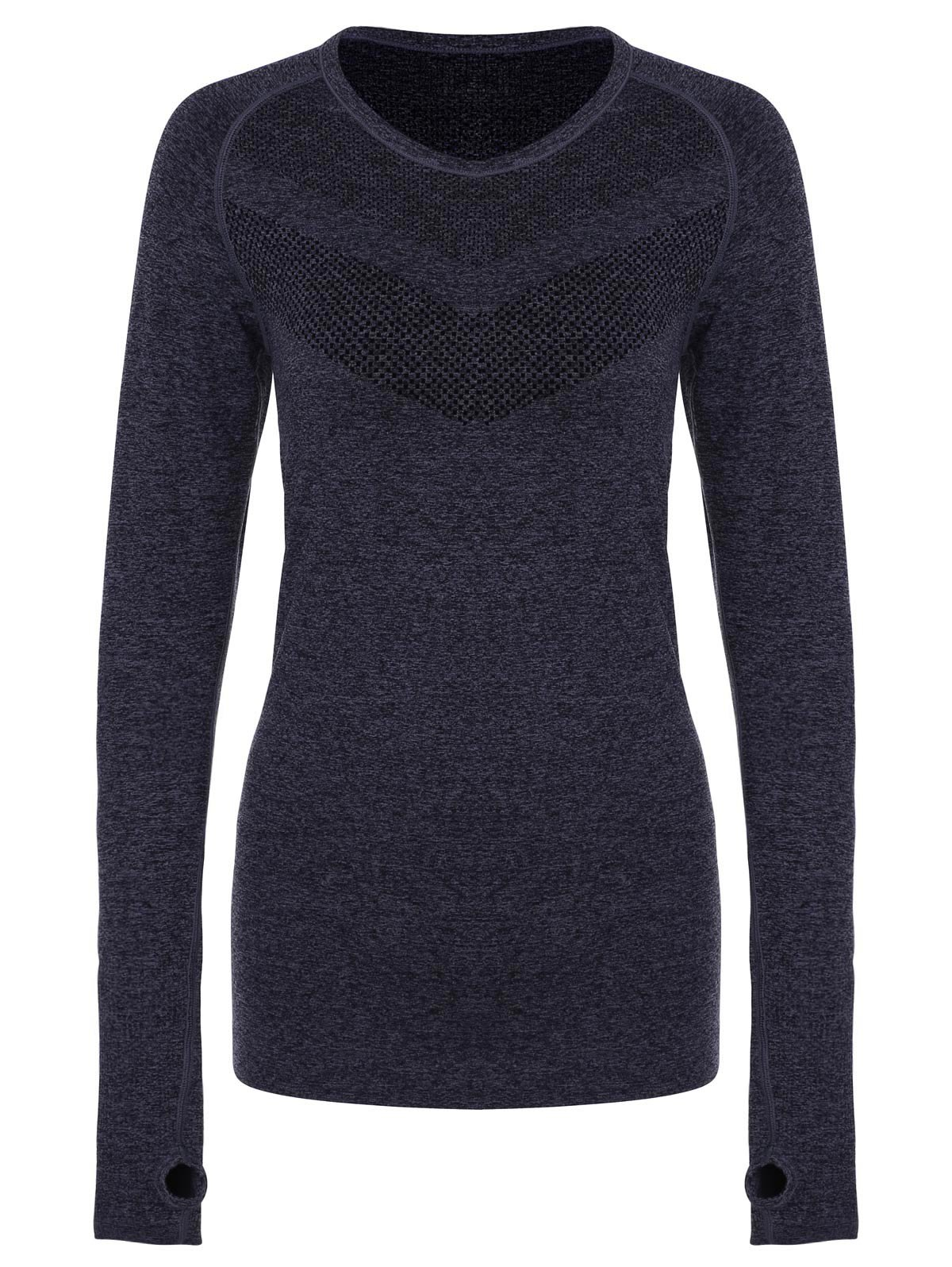 Round Collar Slimming Long Sleeve Gym Top For Women