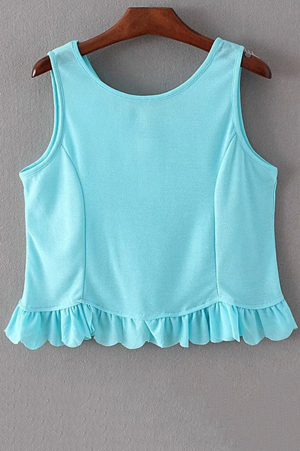 Ruffles Spliced Round Collar Tank TopClothes<br><br><br>Size: S<br>Color: LIGHT BLUE