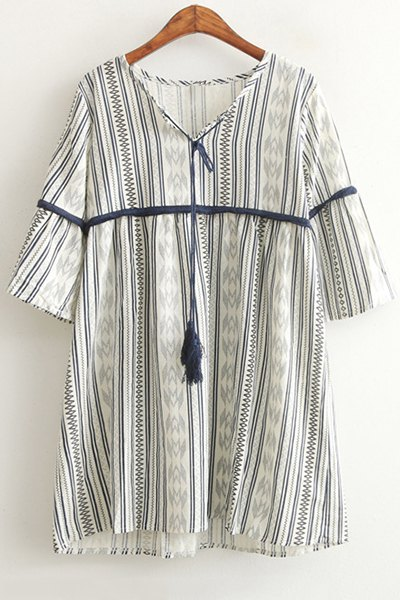 V-Neck 3/4 Sleeve Striped Dress