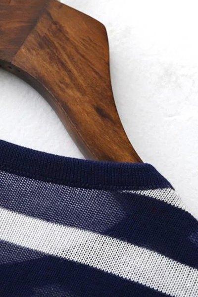 Striped Round Neck Short Sleeve Knit T-Shirt - BLACK L