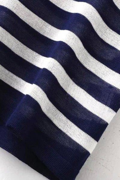 Striped Round Neck Short Sleeve Knit T-Shirt - BLUE L