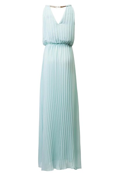 Pleated Halterneck Maxi Chiffon Dress