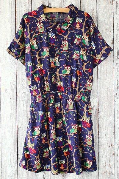 Shirt Collar Short Sleeve Owls Print Fitting Dress