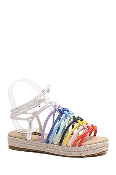 Rainbow Color Weaving Lace-Up Sandals