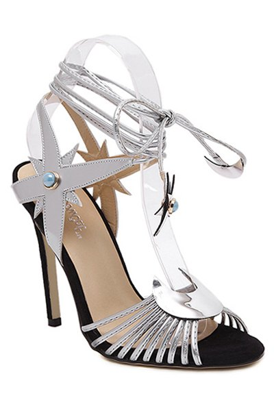 Peep Toe Lace-Up Stiletto Heel Sandals