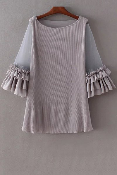Scoop Neck 3/4 Sleeve Pleated Mesh Splice Dress
