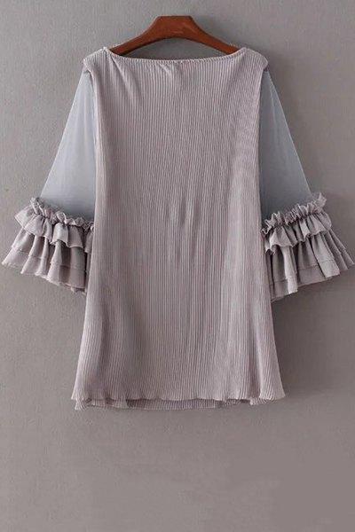 Pleated Ruffled Mesh Splice 3/4 Sleeve Dress - GRAY M