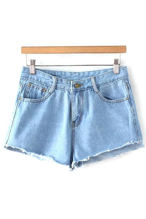 Mid-Waist Fitting Light Blue Denim Shorts