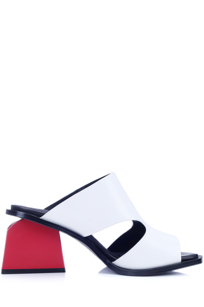 Chunky Heel Hollow Out White Slippers Image