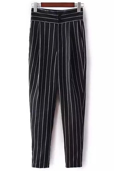 Striped High-Waisted Chino Pants