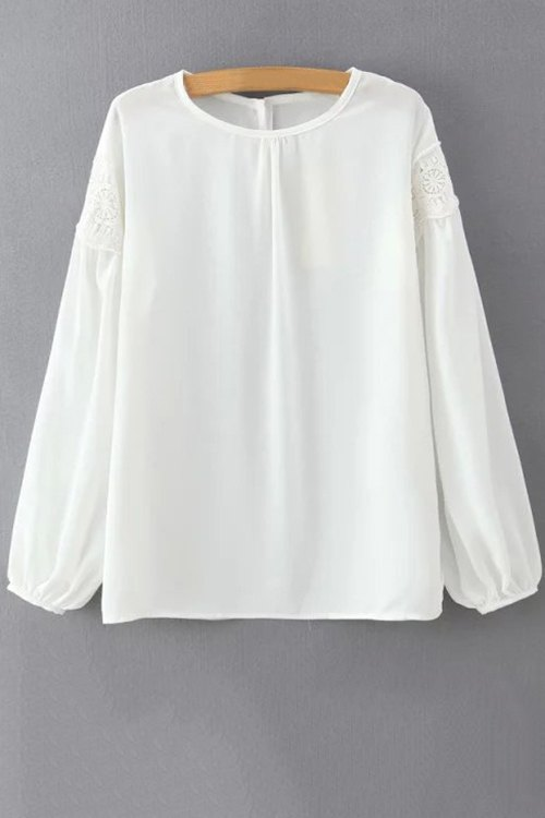 White Lace Spliced Round Neck Lantern Sleeve Blouse