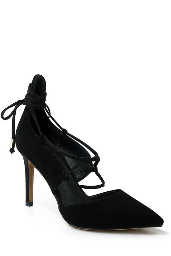 Solid Color Lace-Up Stiletto Heel Pumps