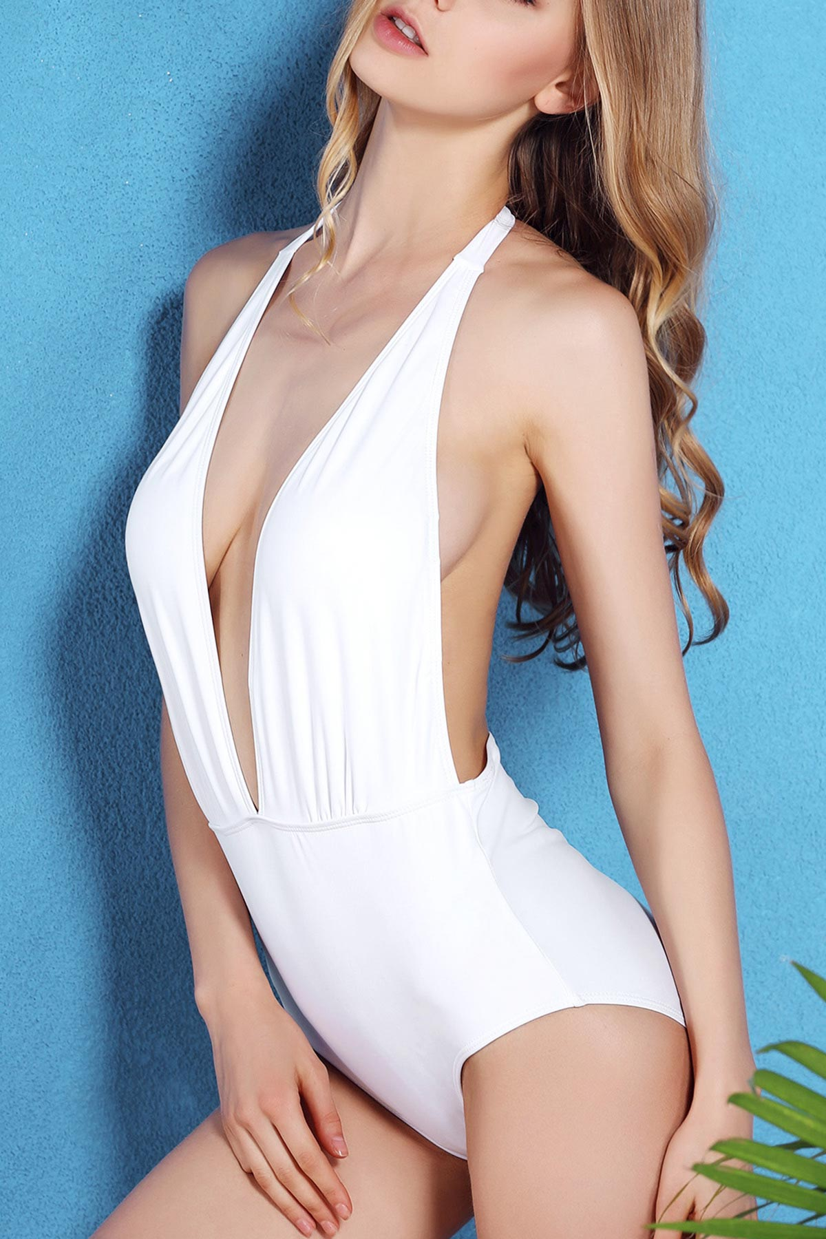 Halter Solid Color Open Back One-Piece Swimwear