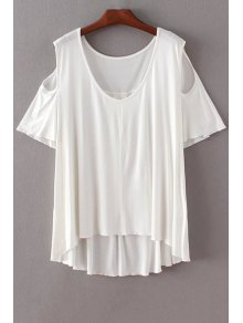 Solid Color Scoop Neck Short Sleeve Cold Shoulder T-Shirt