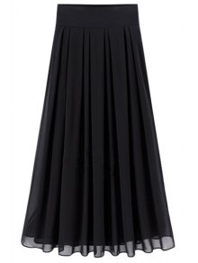 Buy Flared Solid Color Chiffon Skirt - BLACK M