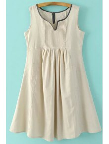Pockets Sleeveless Notched Neck Dress