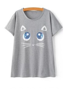 Kitten Pattern Short Sleeves T-Shirt
