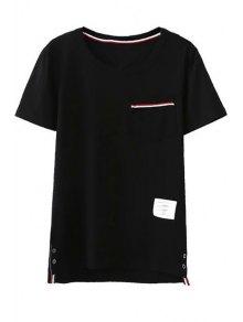 Fitting Pocket Round Neck Short Sleeve T-Shirt
