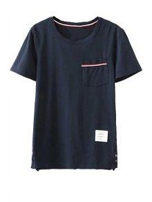 Fitting Pocket Round Neck Short Sleeve T-Shirt - Cadetblue S