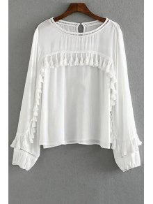 Tassels Spliced Round Collar Long Sleeve Blouse - White S